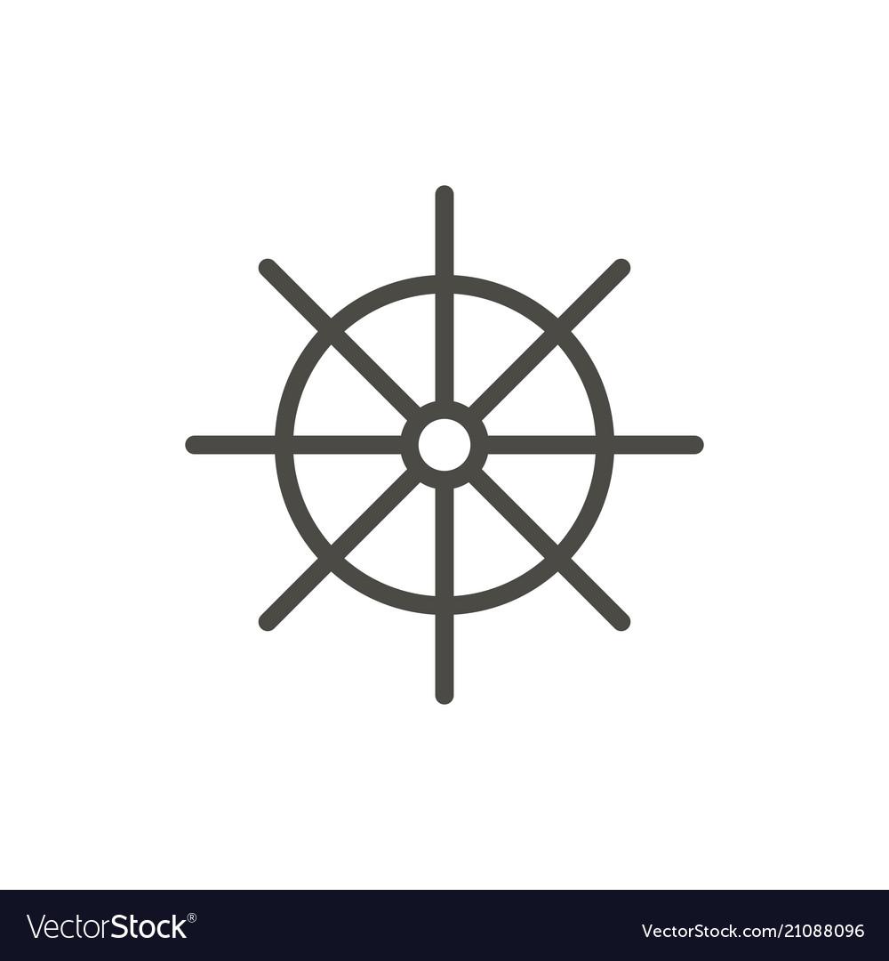 Ship wheel icon line symbol isolated tren