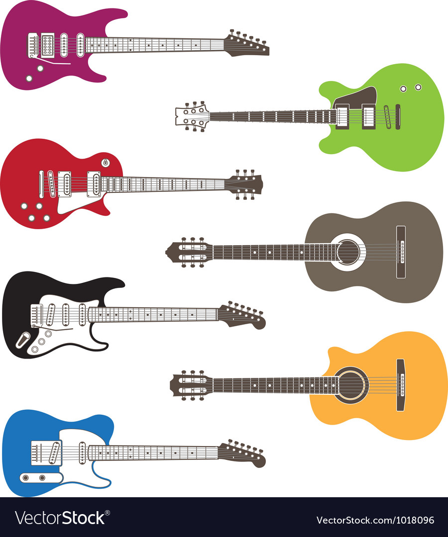 Silhouettes of acoustic and electric guitars