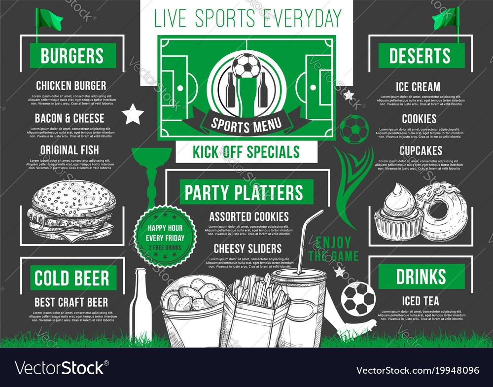 Soccer bar football beer pub meals menu