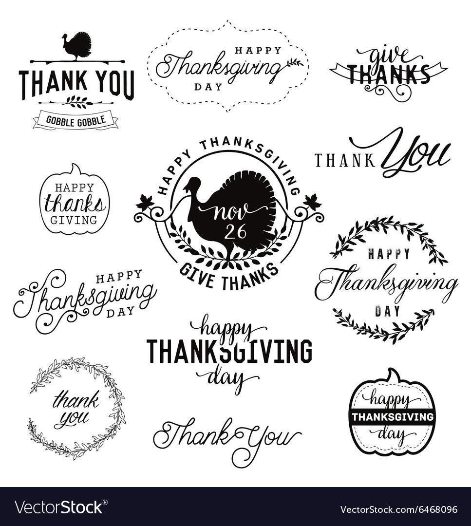 Thanksgiving Day Design Elements Badges and Labels