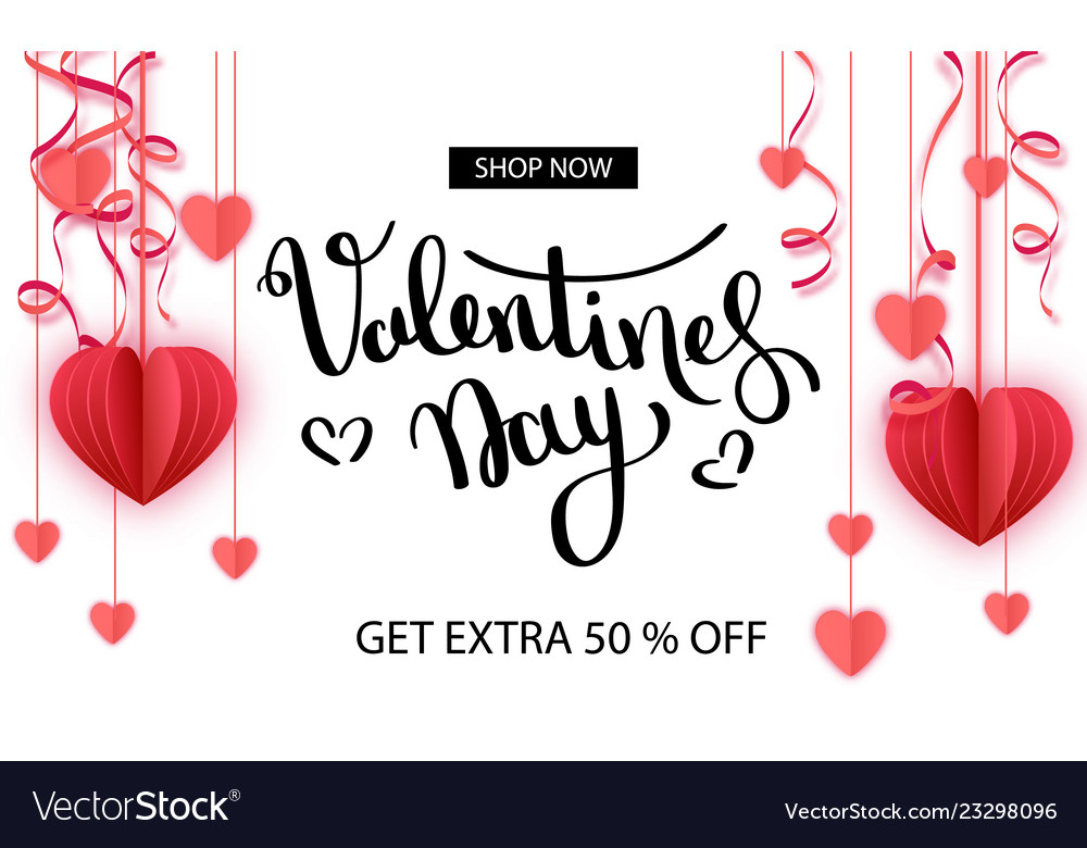 Valentine s day sale offer banner template red