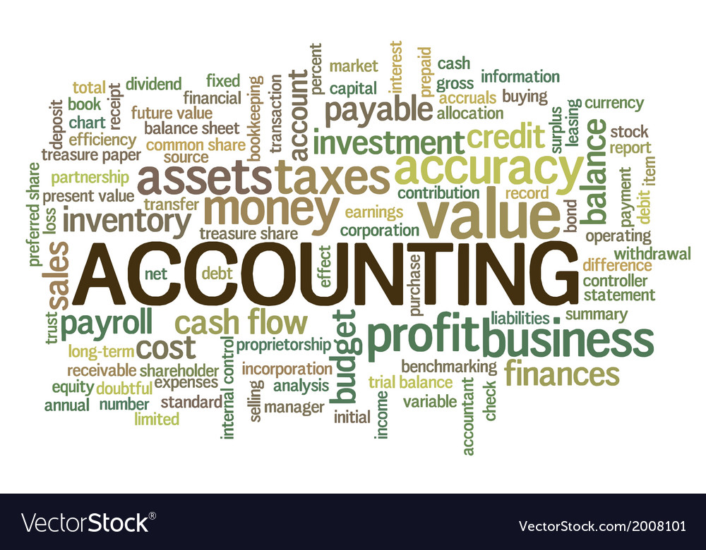 accounting word cloud bubble tags tree royalty free vector