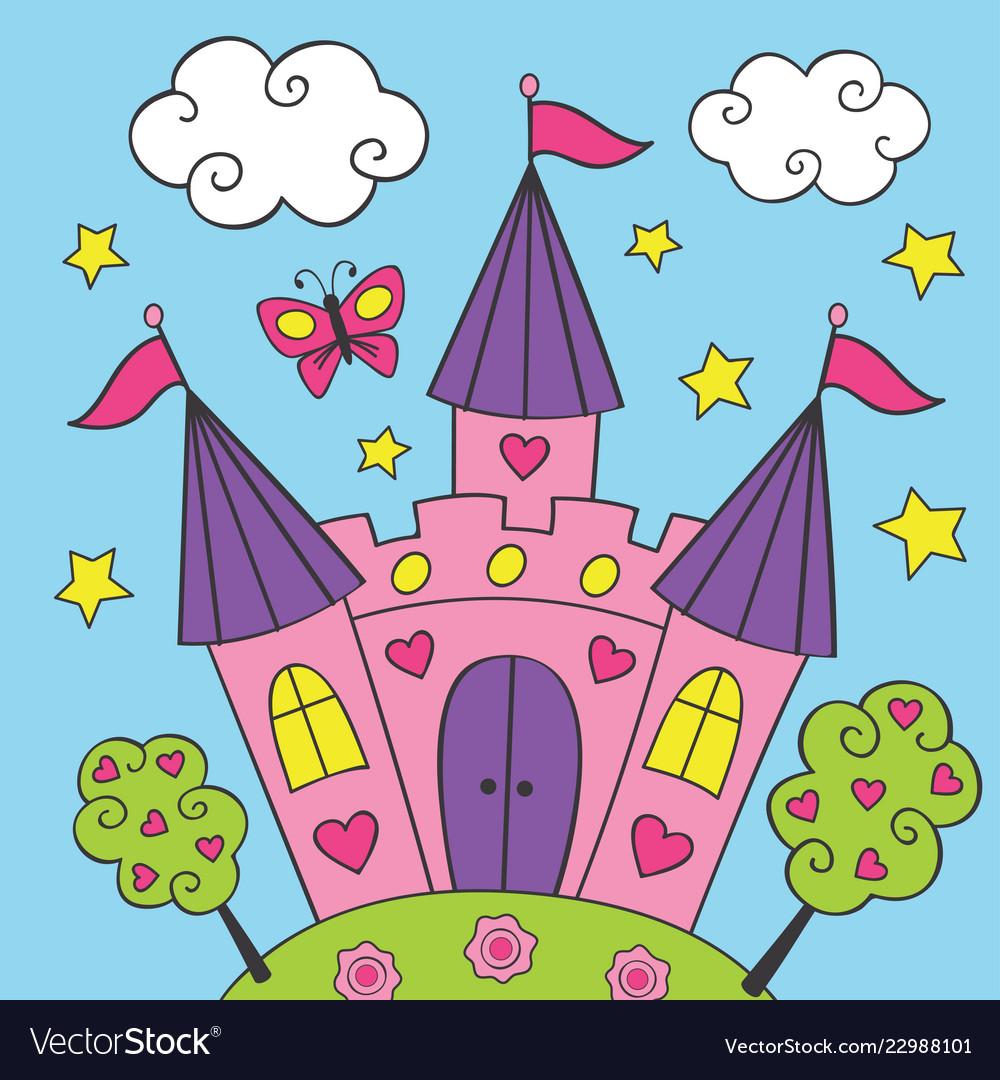 Beautiful fairy pink castle