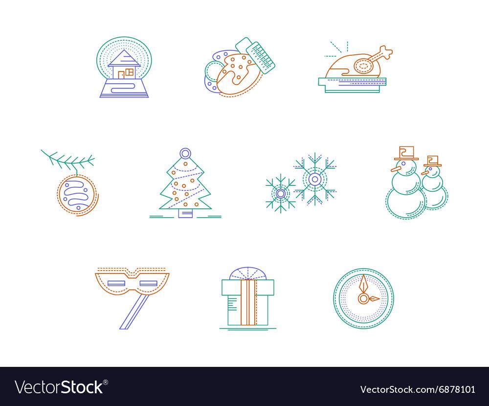 Christmas accessories color line icons set