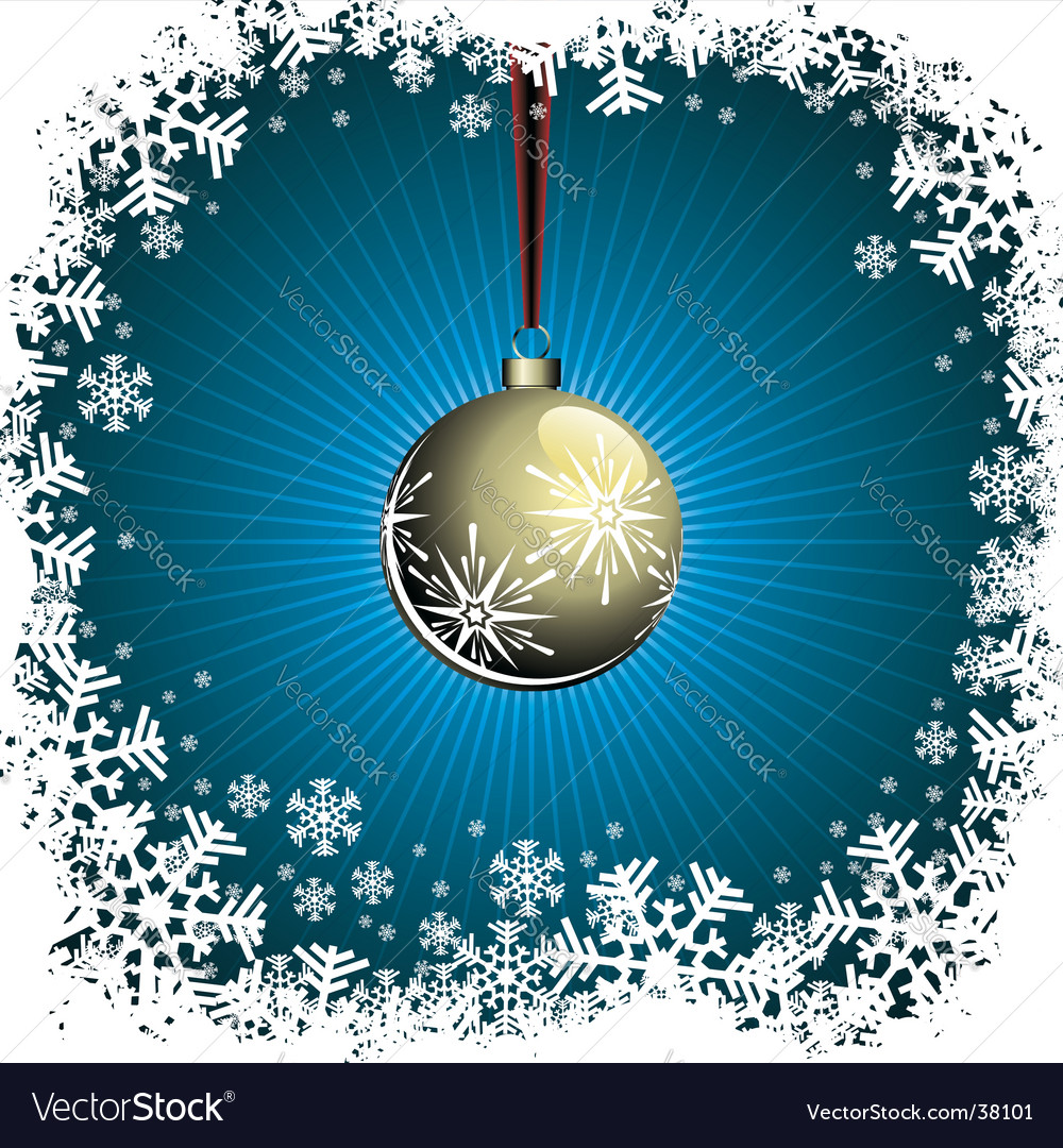 Christmas illustration with gold ball