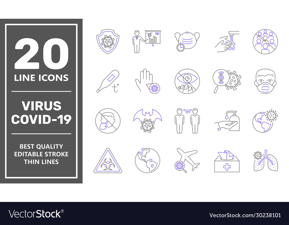 Coronavirus line icon set coronavirus protection
