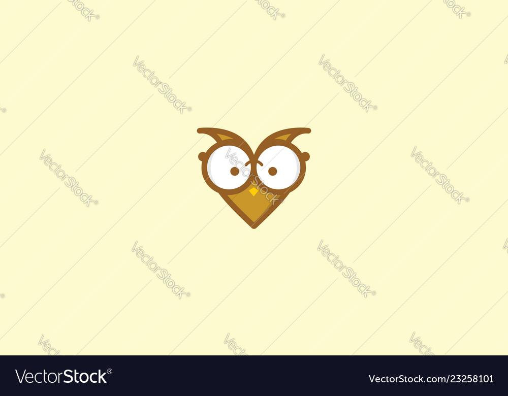 Cute owl love logo icon