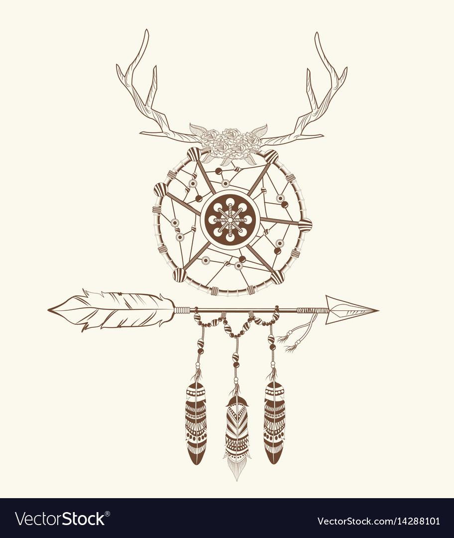 Dream catcher horns arrow feathers decoration