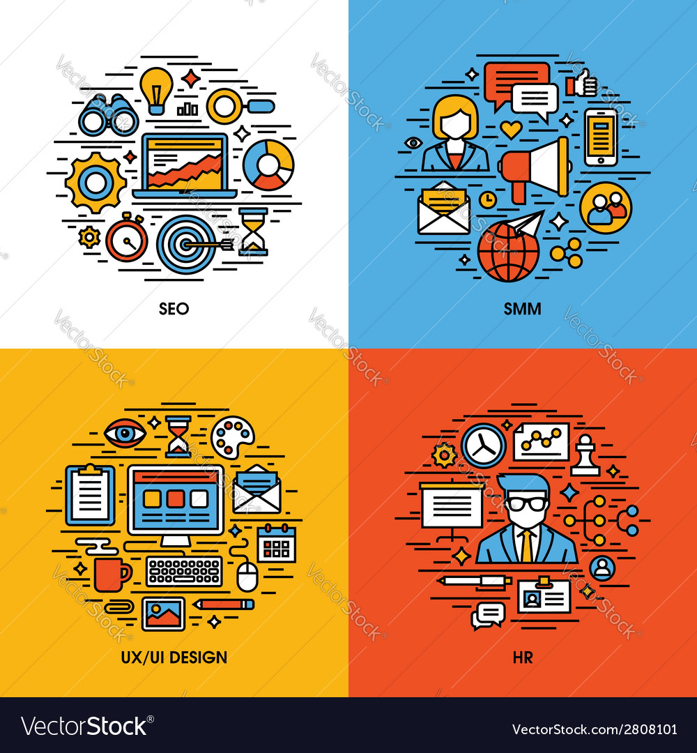 Flat line icons set of SEO SMM UI and UX design HR
