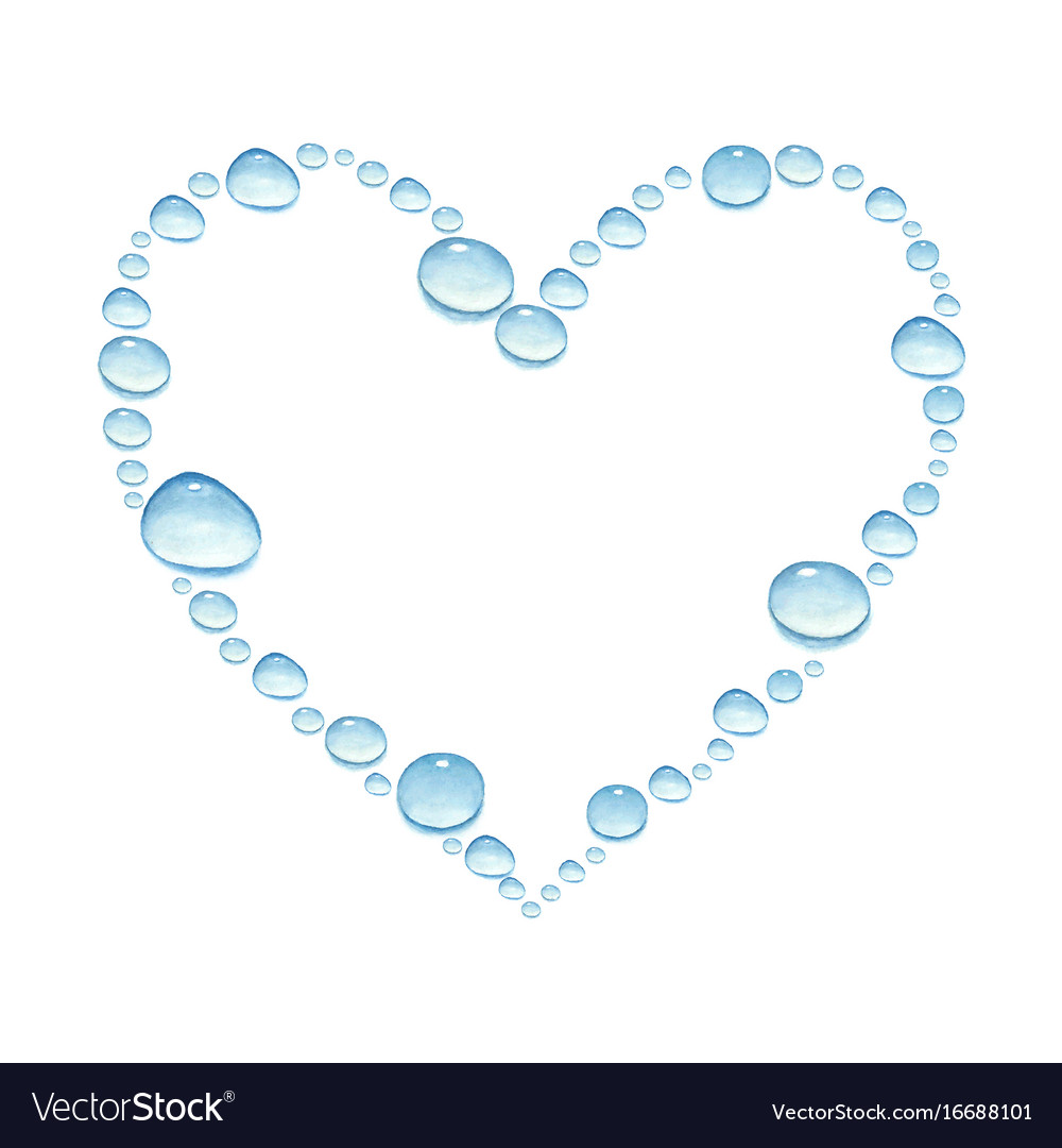 Heart with watercolor water drops