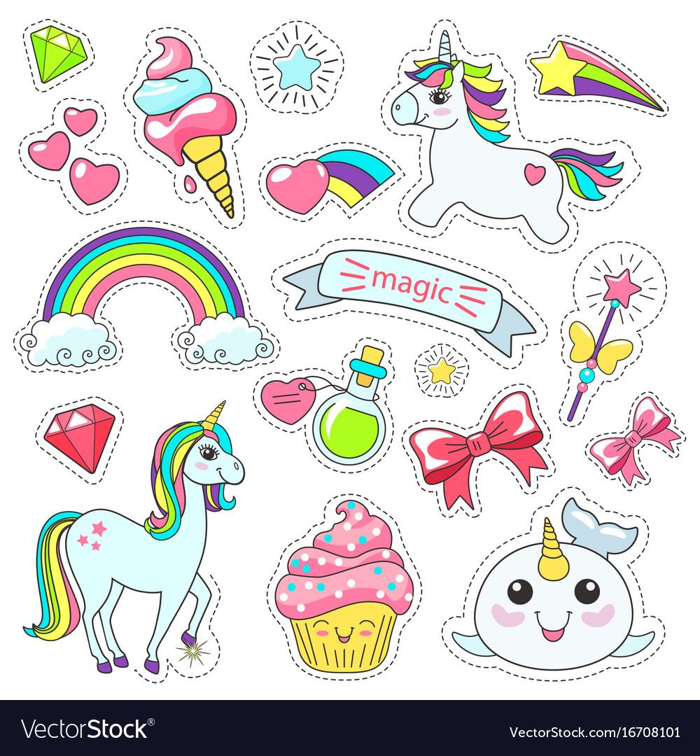 Magic cute unicorn stars on clouds poster