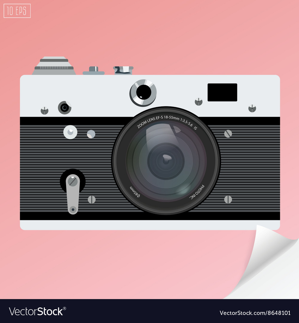 Old photo camera for logotype or icon with
