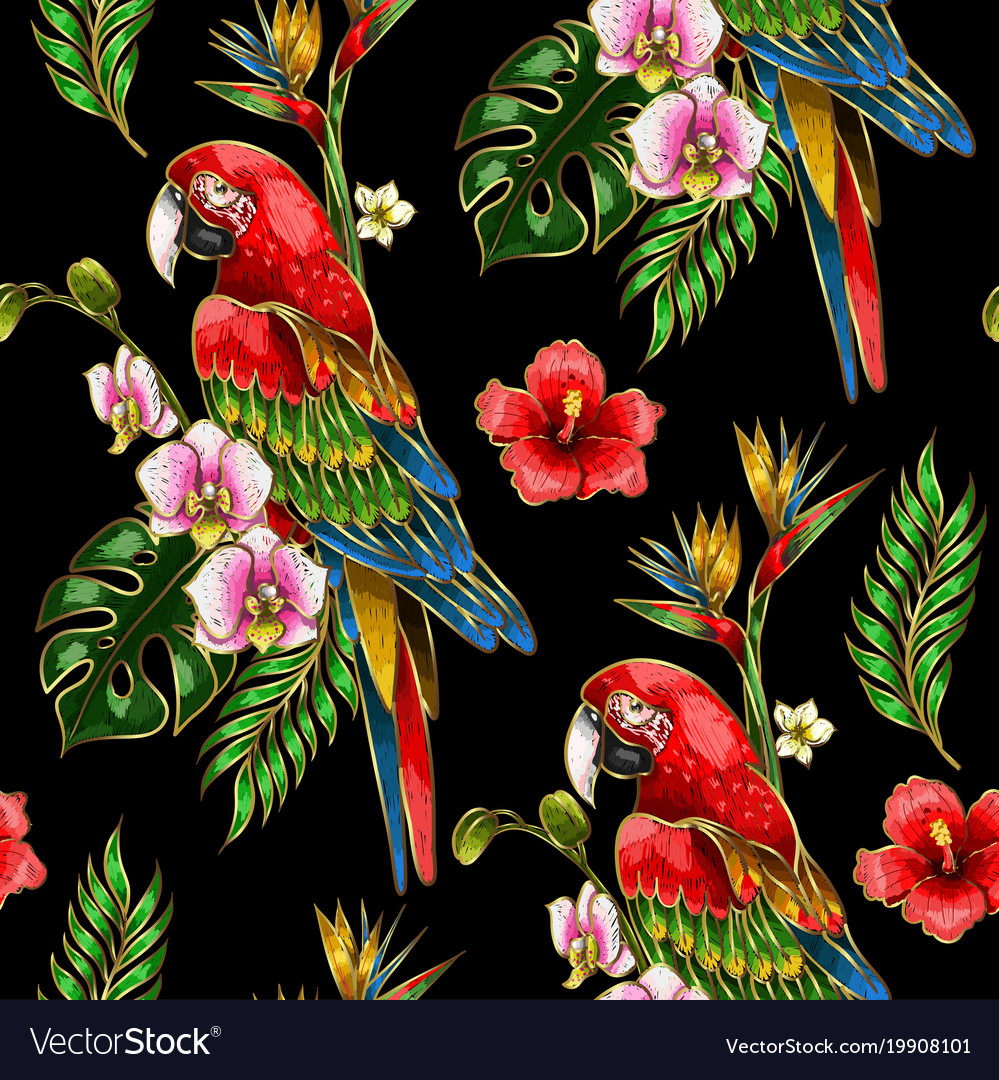 Seamless pattern with ara parrot embroidery