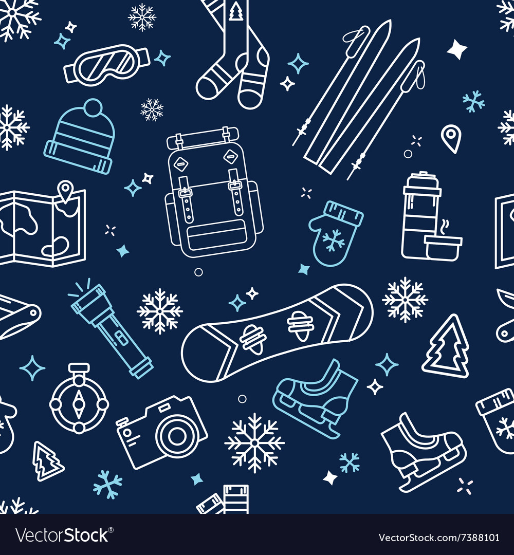 Seamless Winter Adventure Pattern vector image