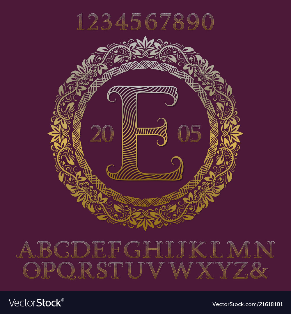 Wavy patterned gold letters numbers with monogram