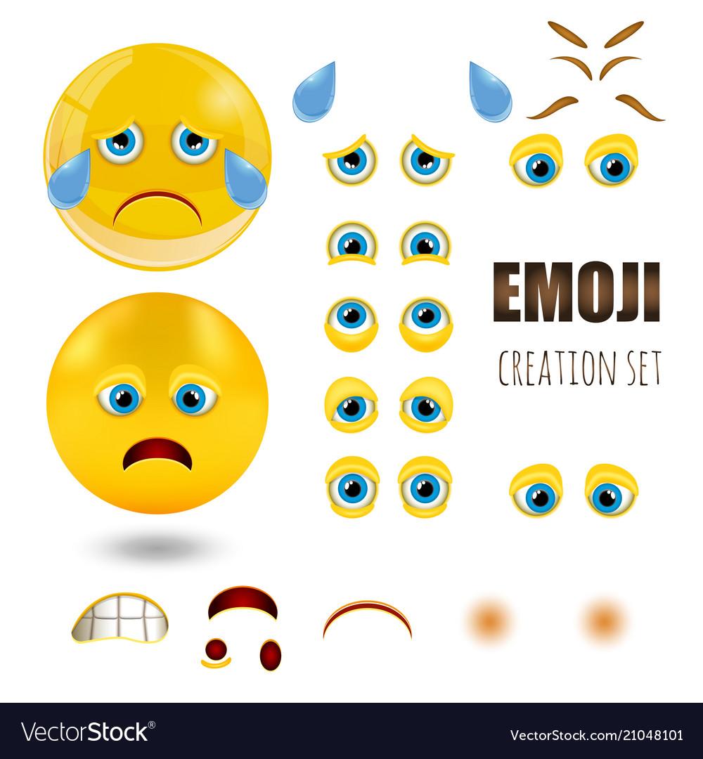 Yellow sad smiley emoticons set emoji vector image