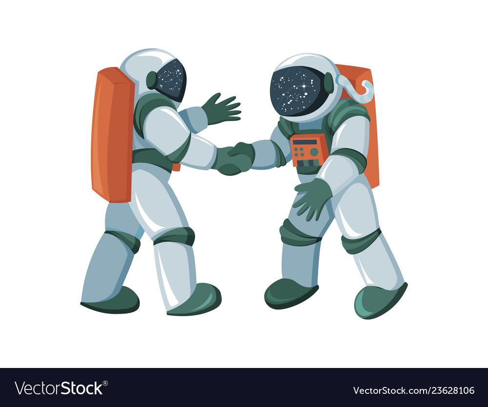 Cartoon astronauts meeting and handshake in space