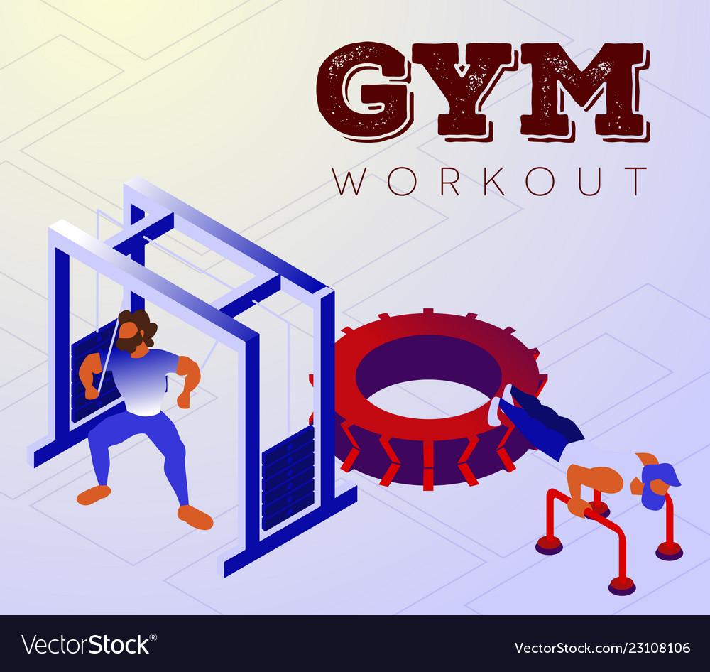 Cartoon bodybuilders training arms on gym machines
