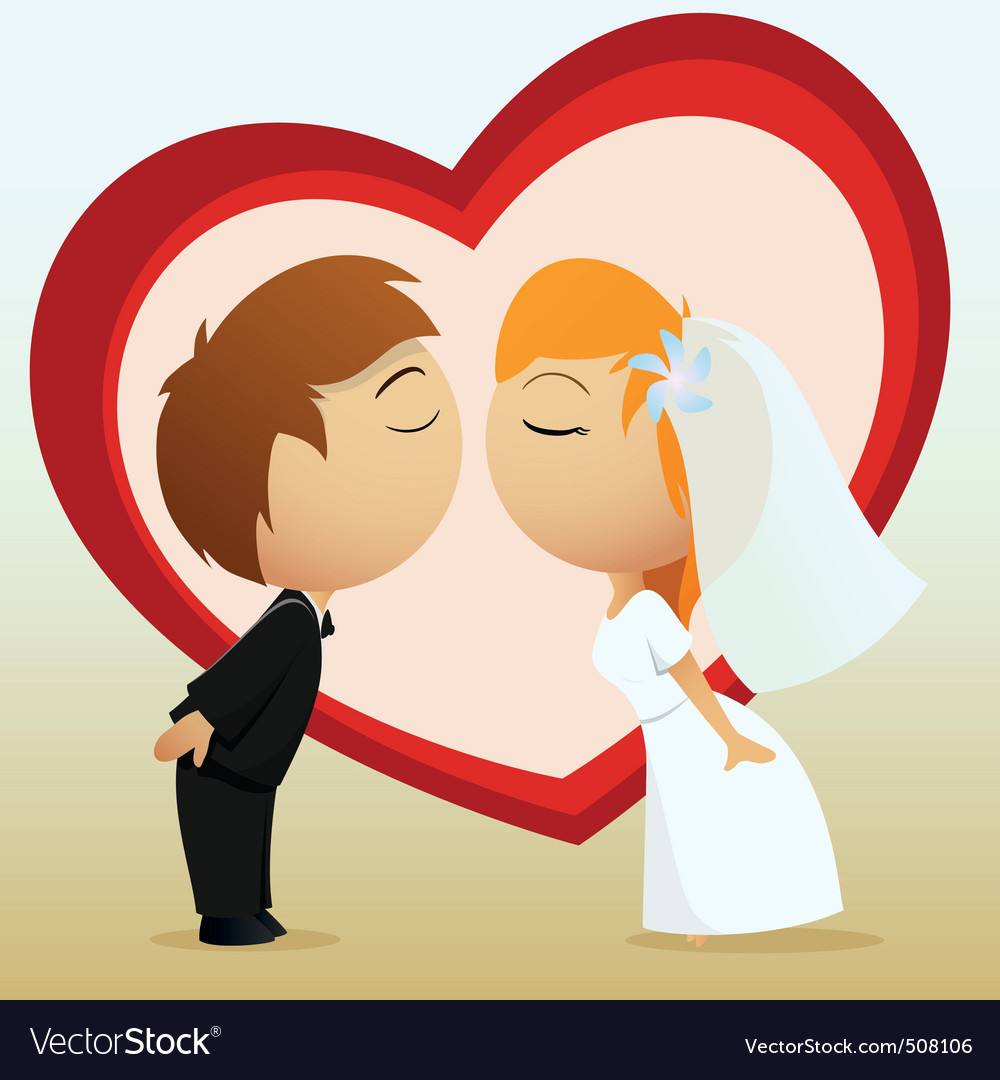 Cartoon bride and groom kiss vector image