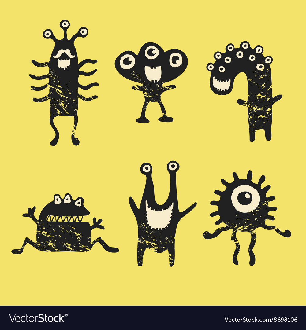 Cute happy monsters