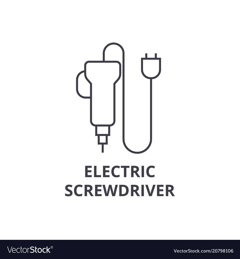 Electric screwdriver line icon sign
