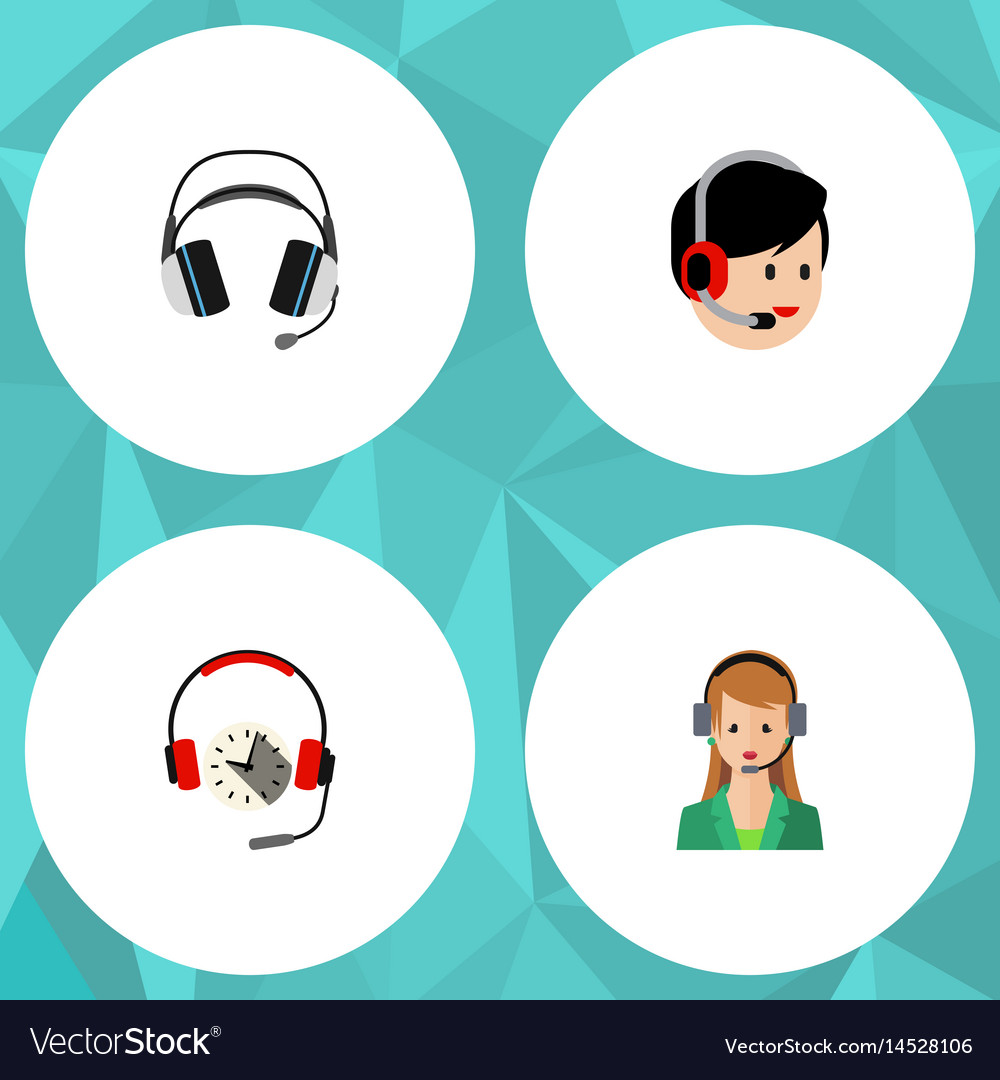 Flat hotline set of earphone headphone operator vector image