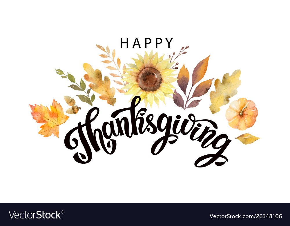Happy thanksgiving text with watercolor