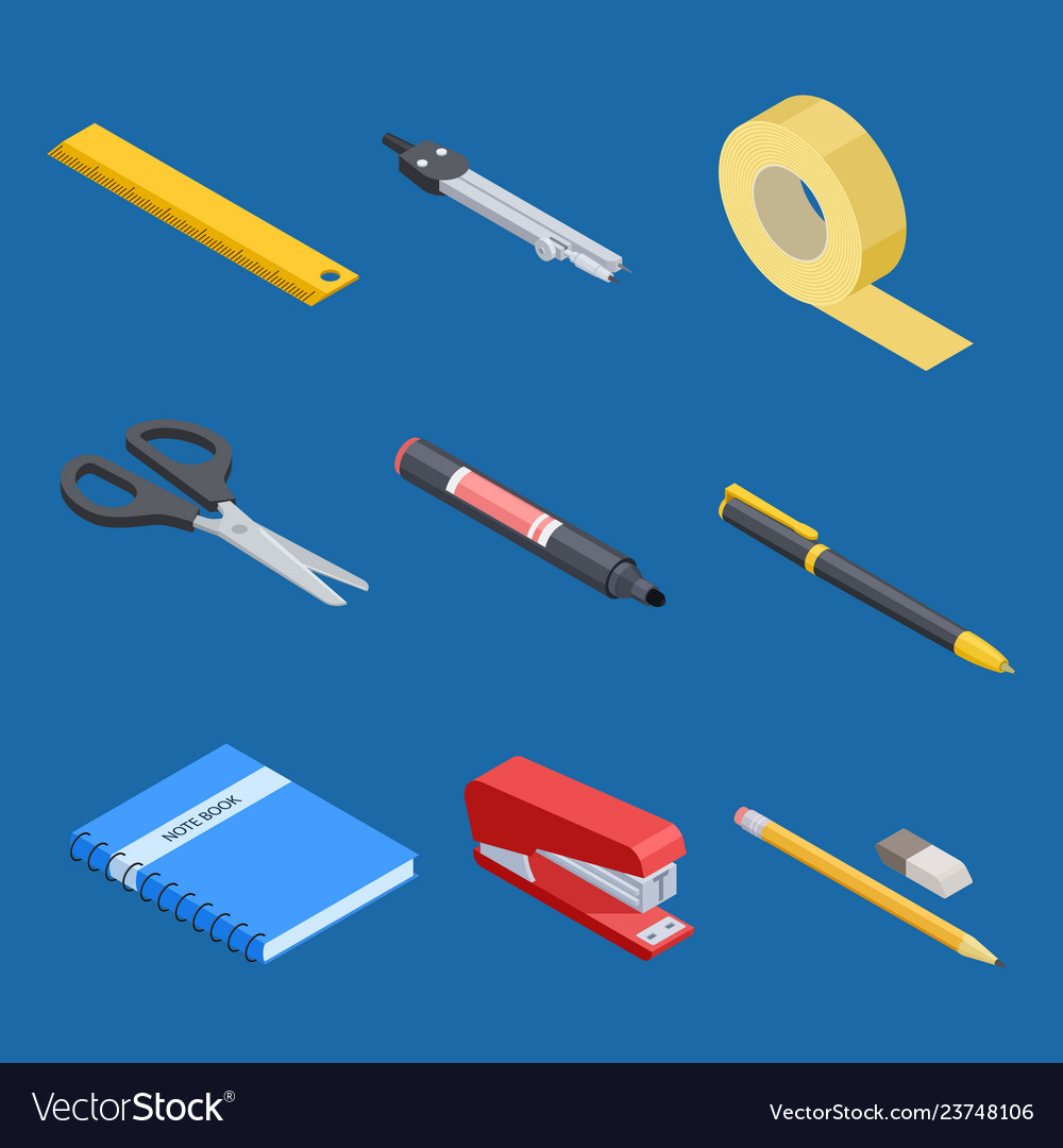 Isometric stationery and office tools