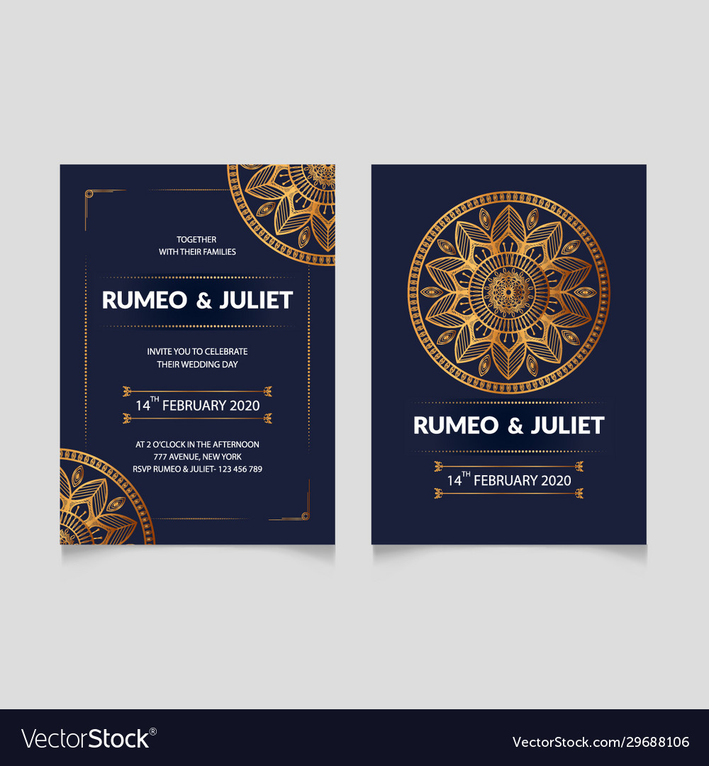 Luxury wedding invitation card design template