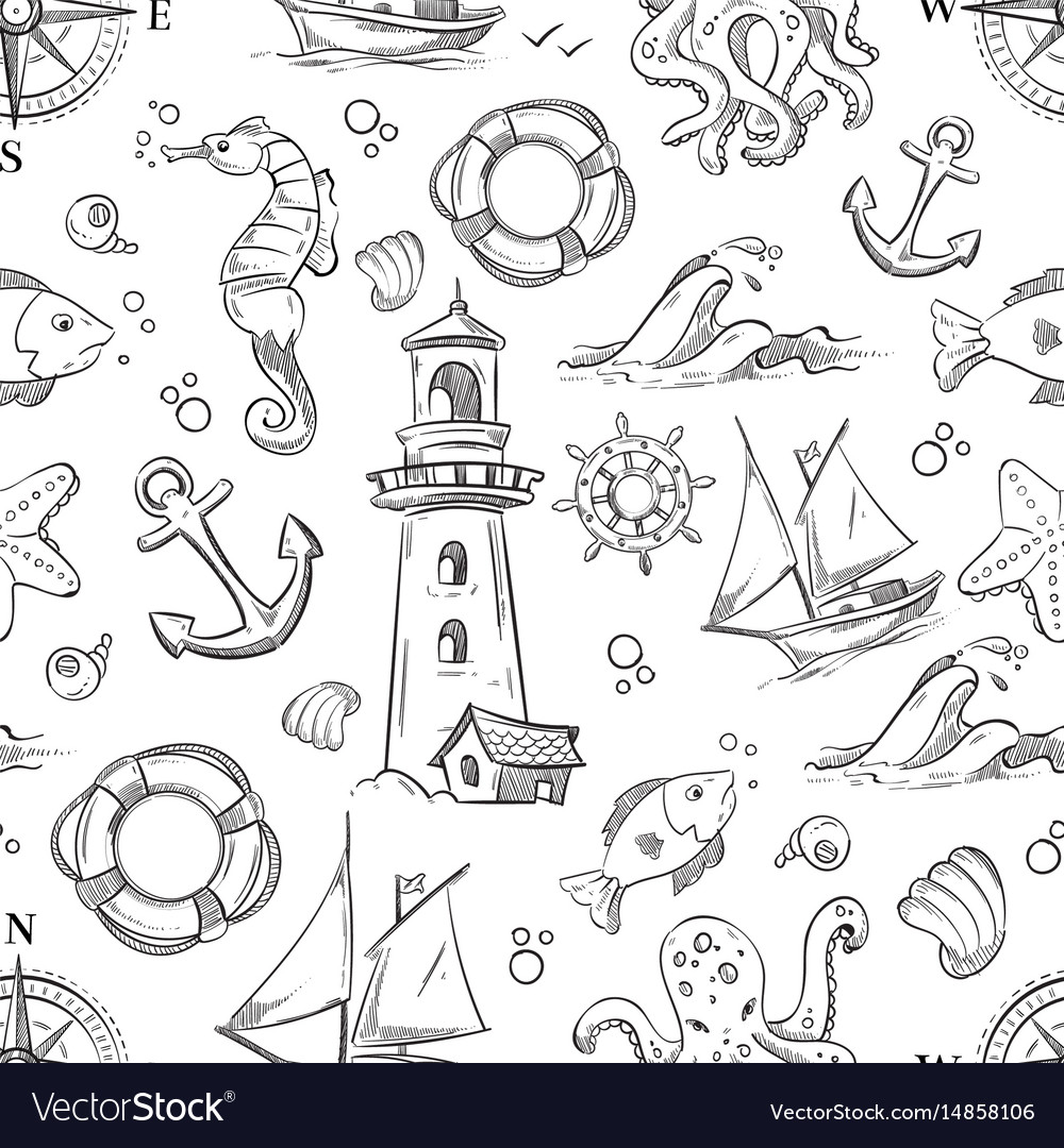 Nautical doodle seamless pattern with sea