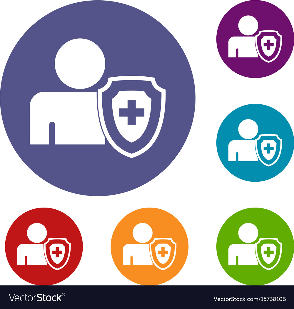 Person and medical cross protection shield icons