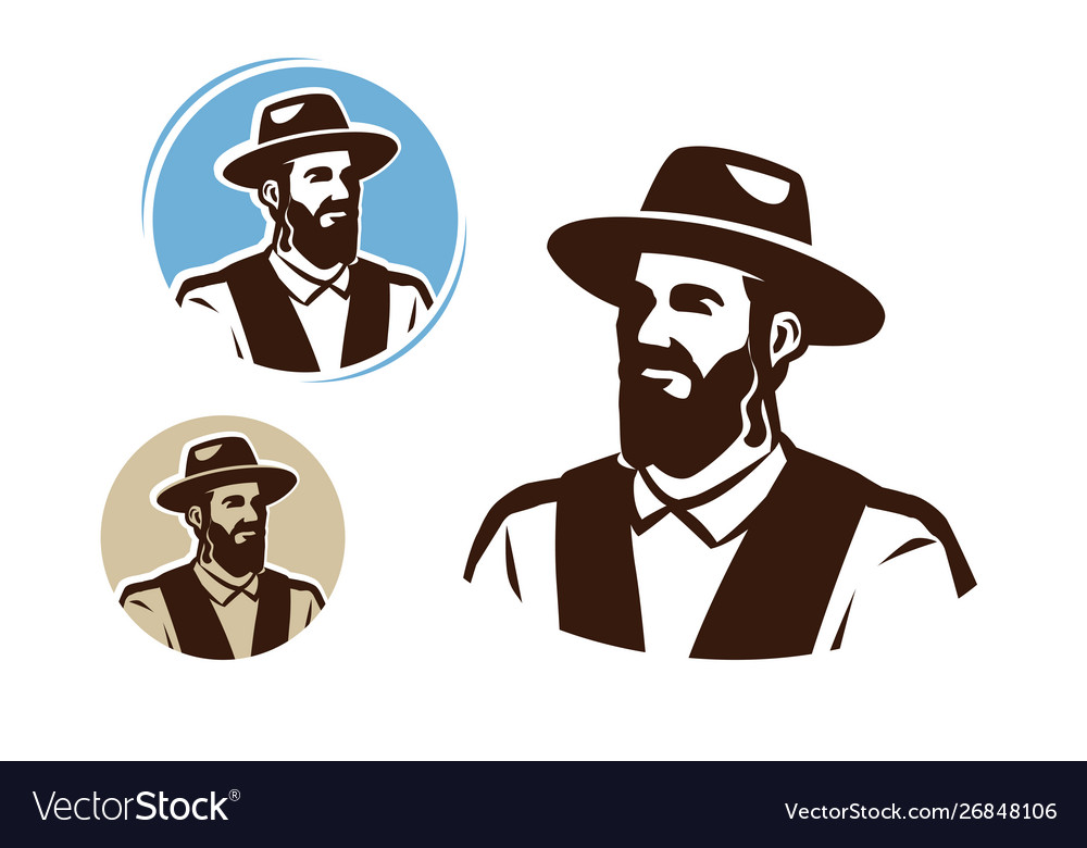 Portrait a jewish man logo judaism