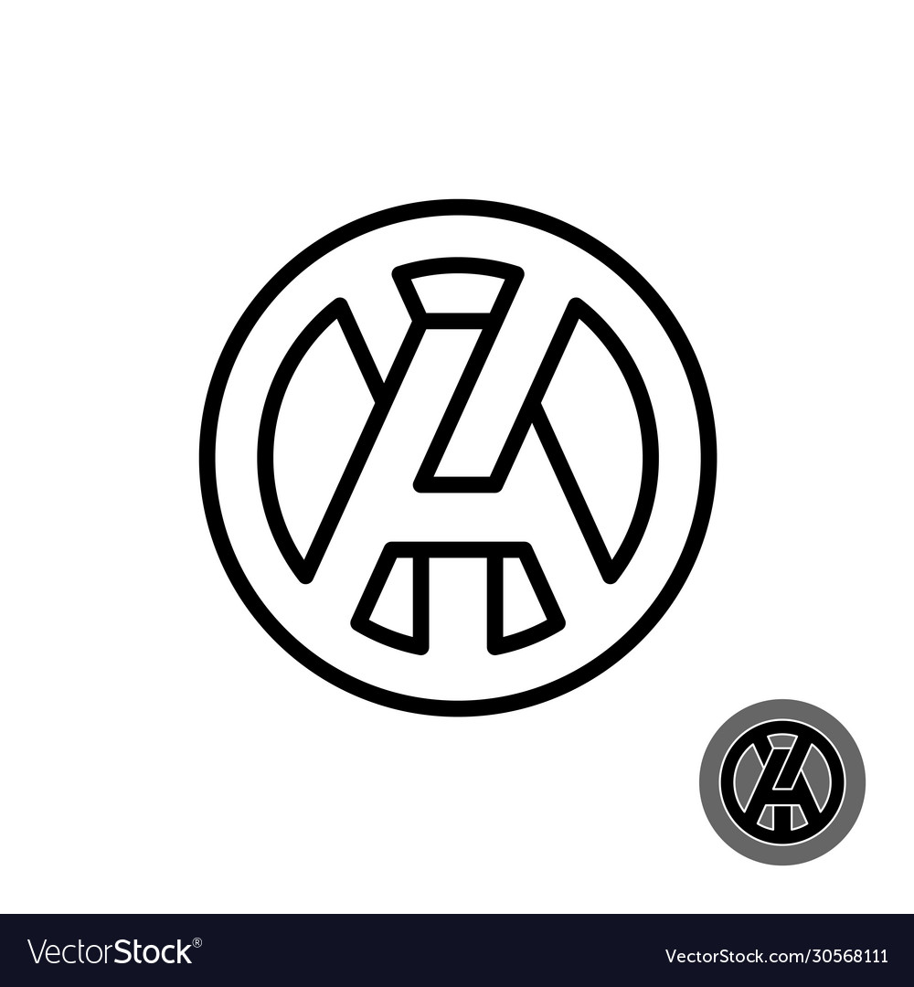 A and y capital letters line style logo round ay