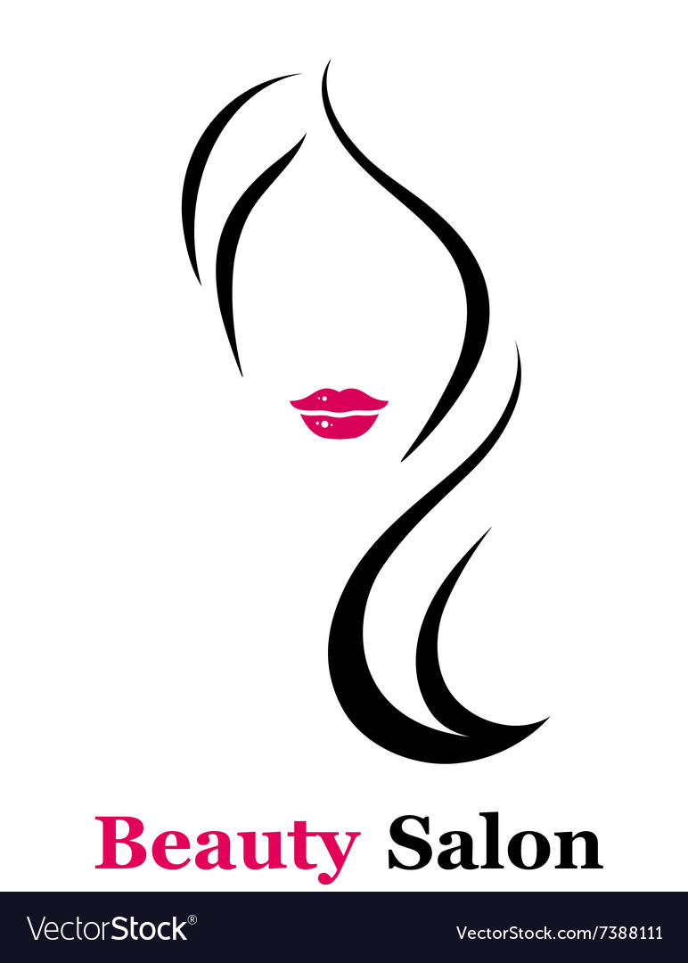 Beauty salon icon with woman silhouette vector image
