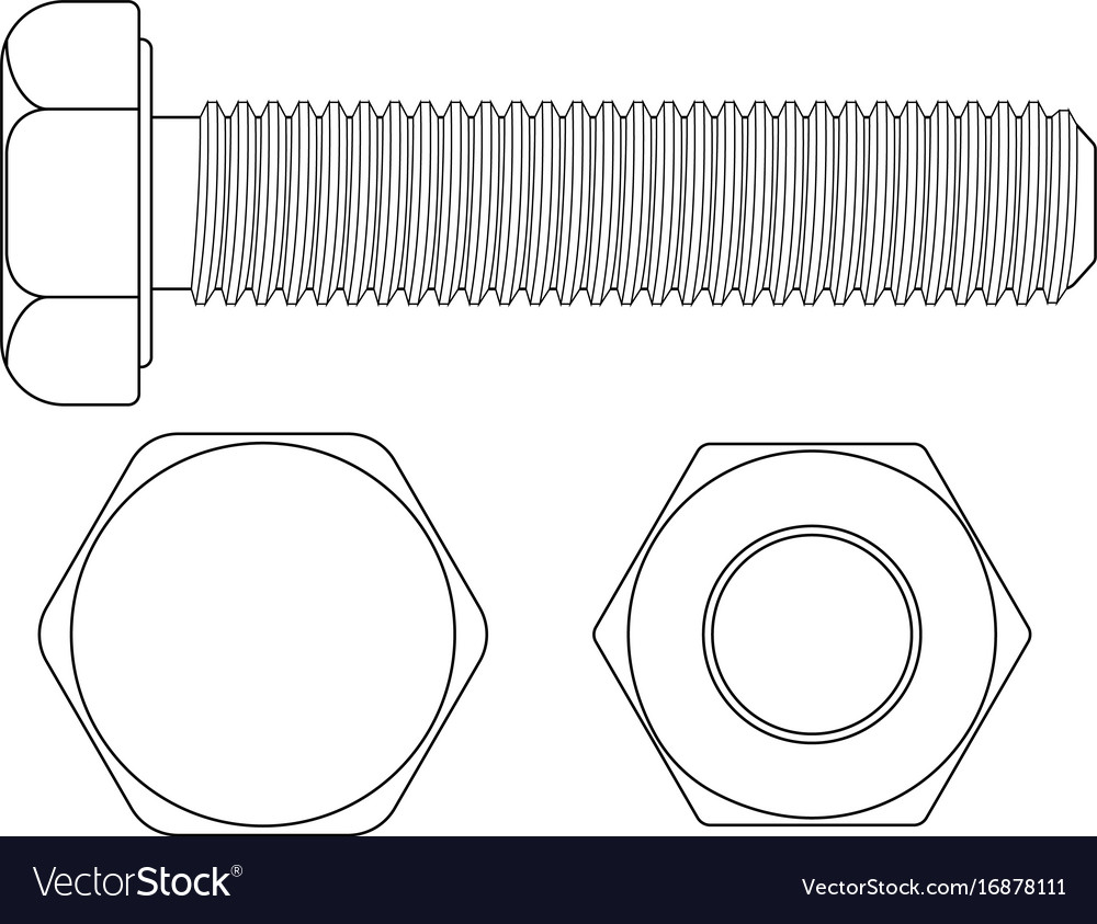 Bolt screw outline drawing