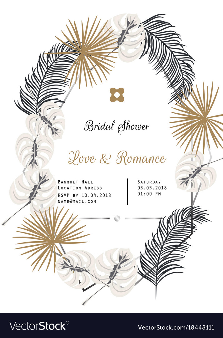 Bridal shower tropic leaves template design