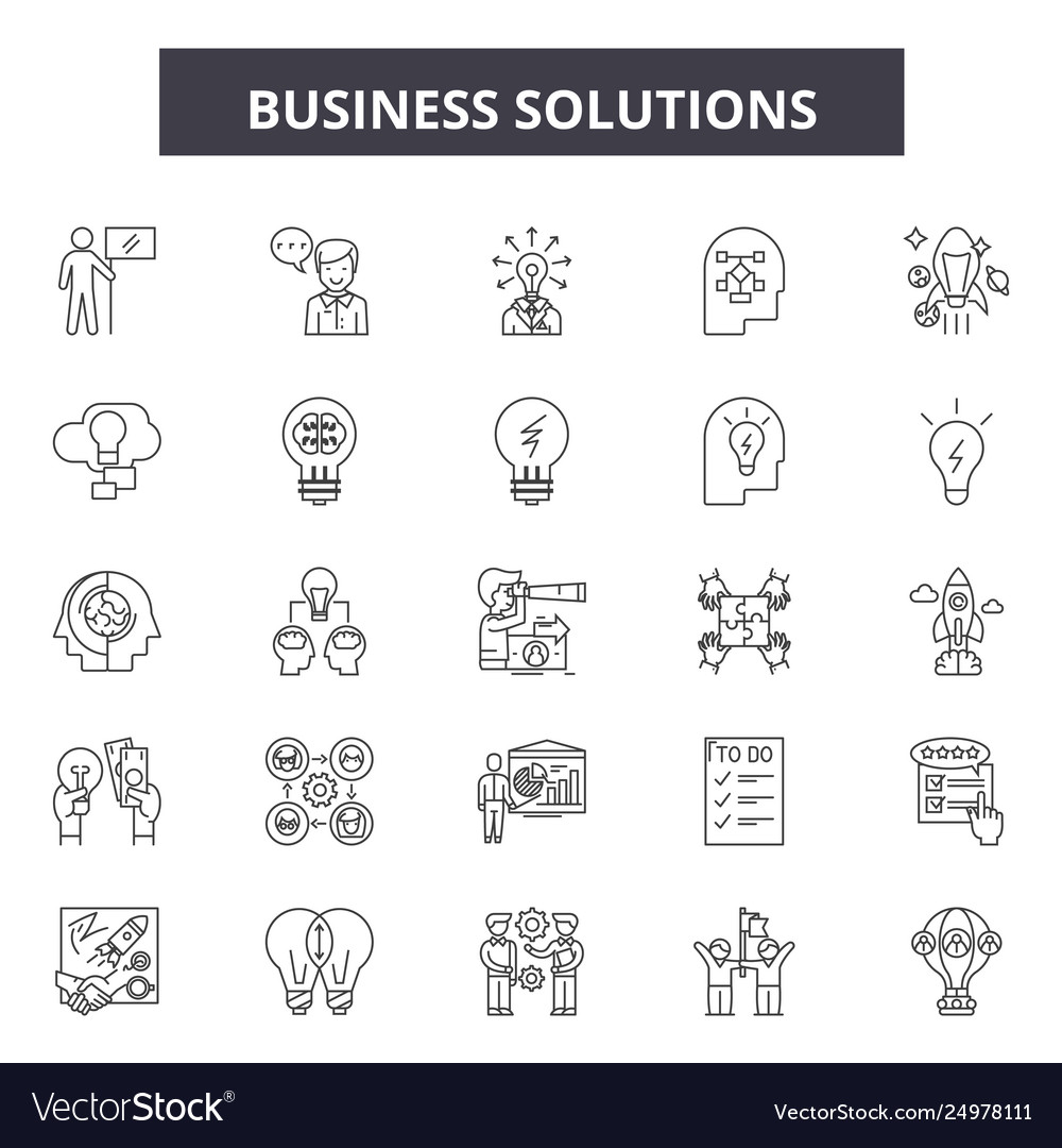Business solutions line icons signs set