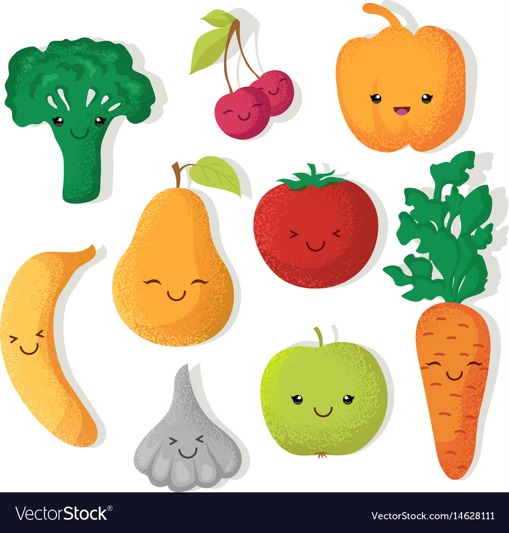 Cartoon funny fruits and vegetables