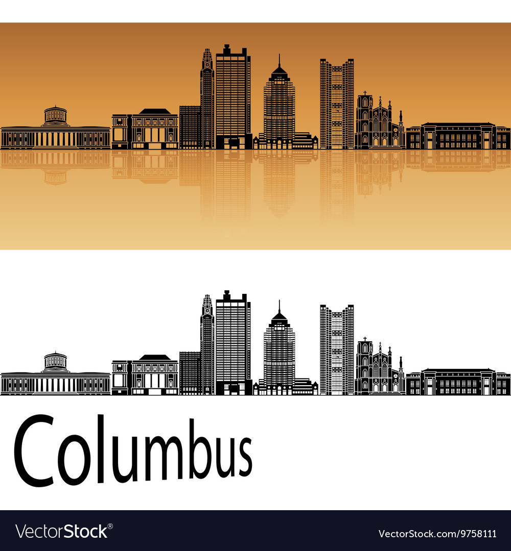 Columbus skyline in orange