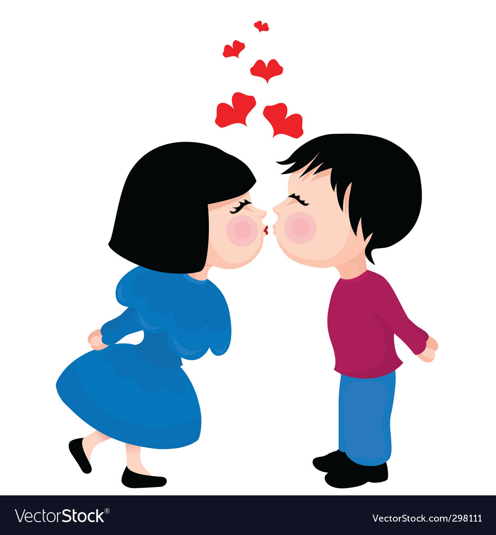 Cute kissing couple vector image