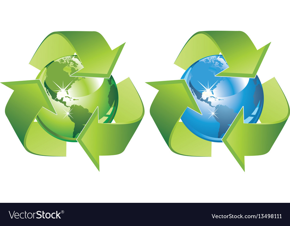 Ecological symbol - earth surrounded with green