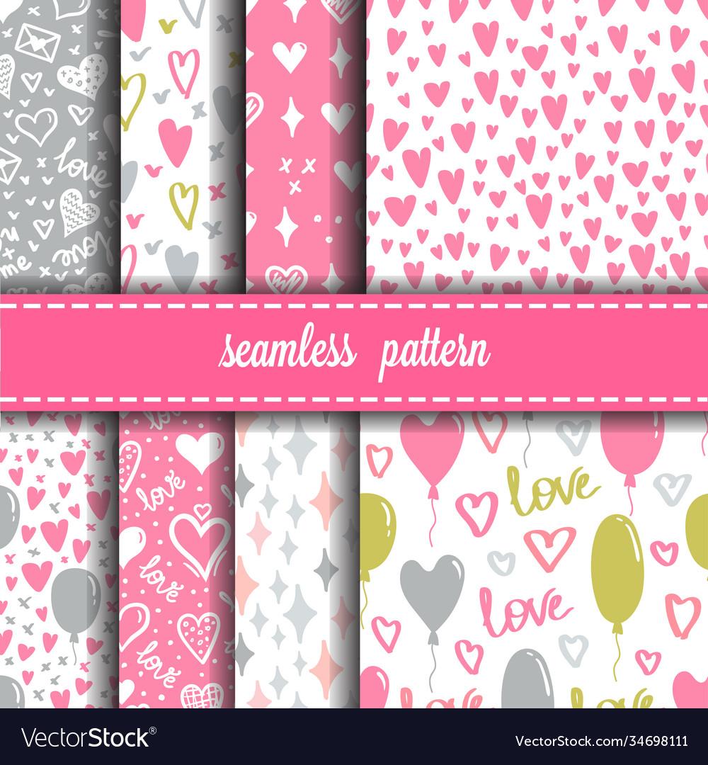 Hearts seamless patterns set