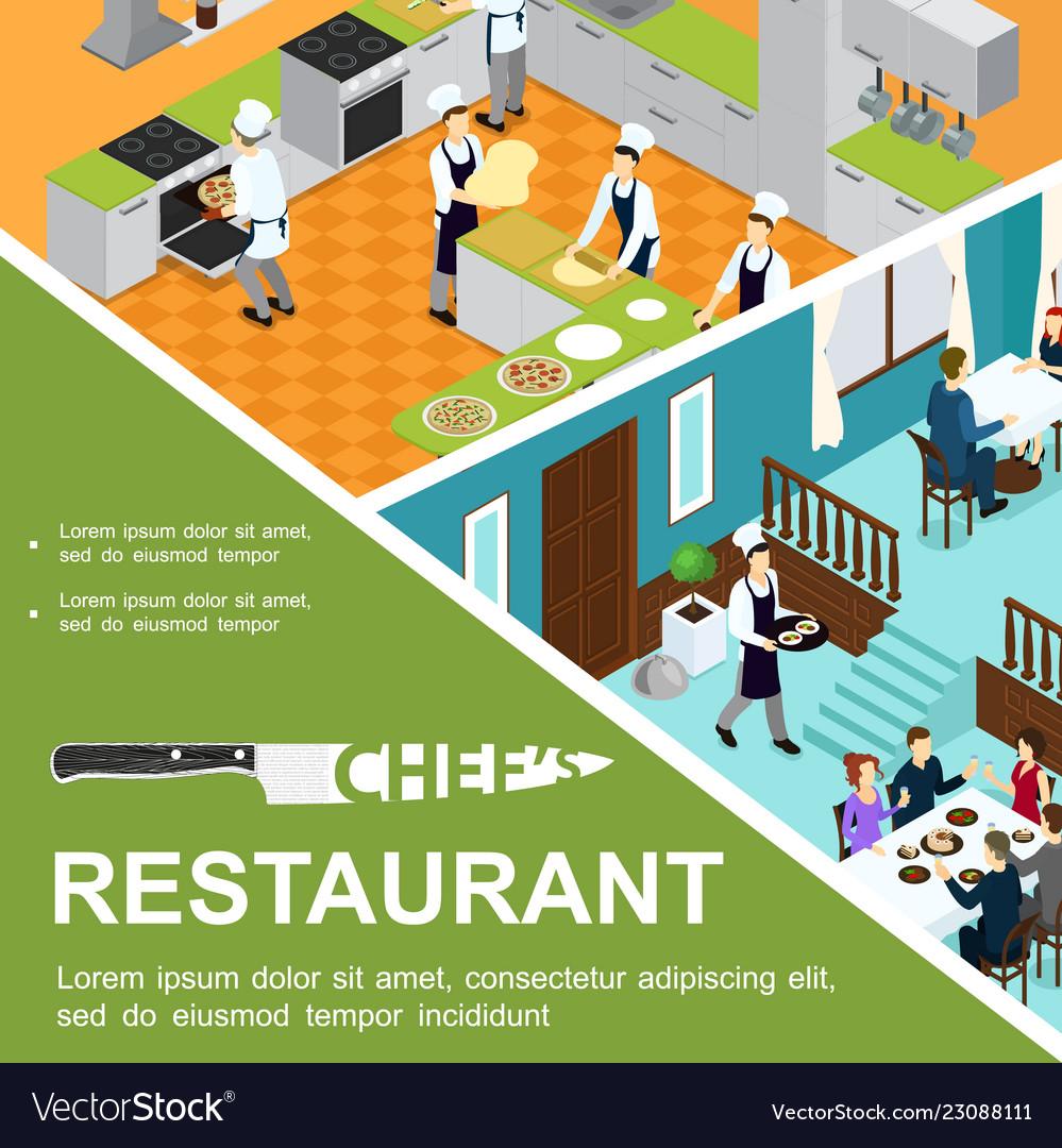 Isometric restaurant cooking concept