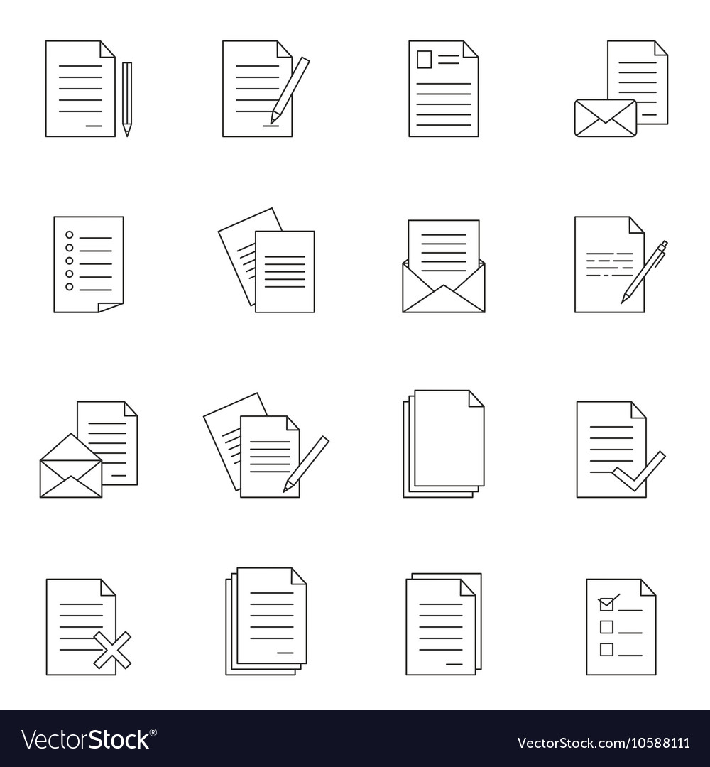 Outline document icon set