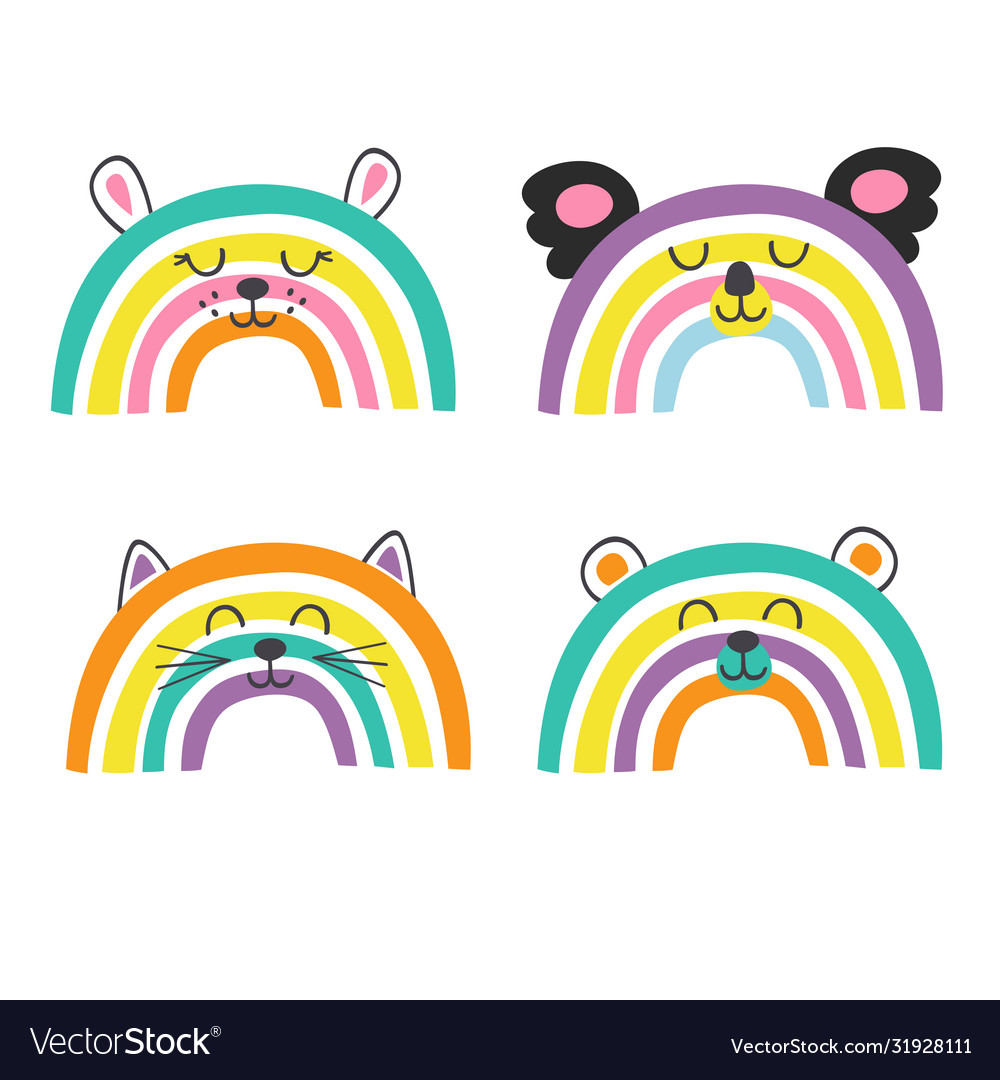 Set isolated cute baanimals rainbows part 2