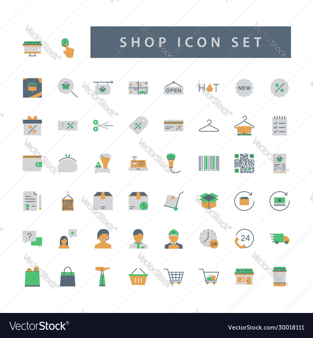 Shop supermarket icon set with colorful modern