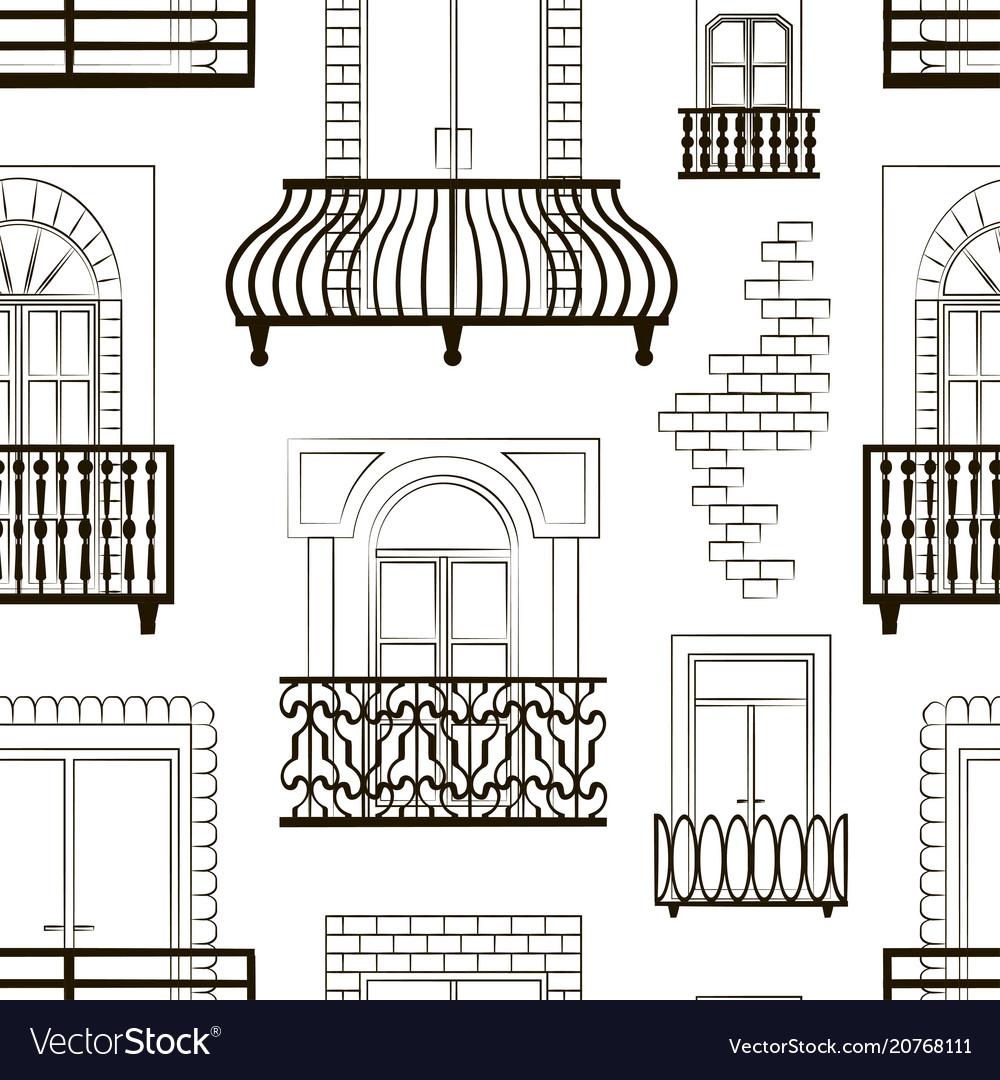 Window forms icons set balcony pattern