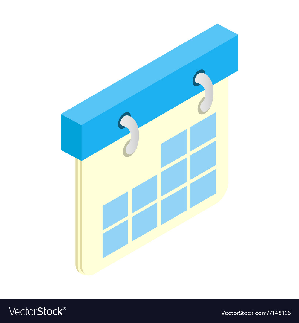 Calendar isometric 3d icon vector image