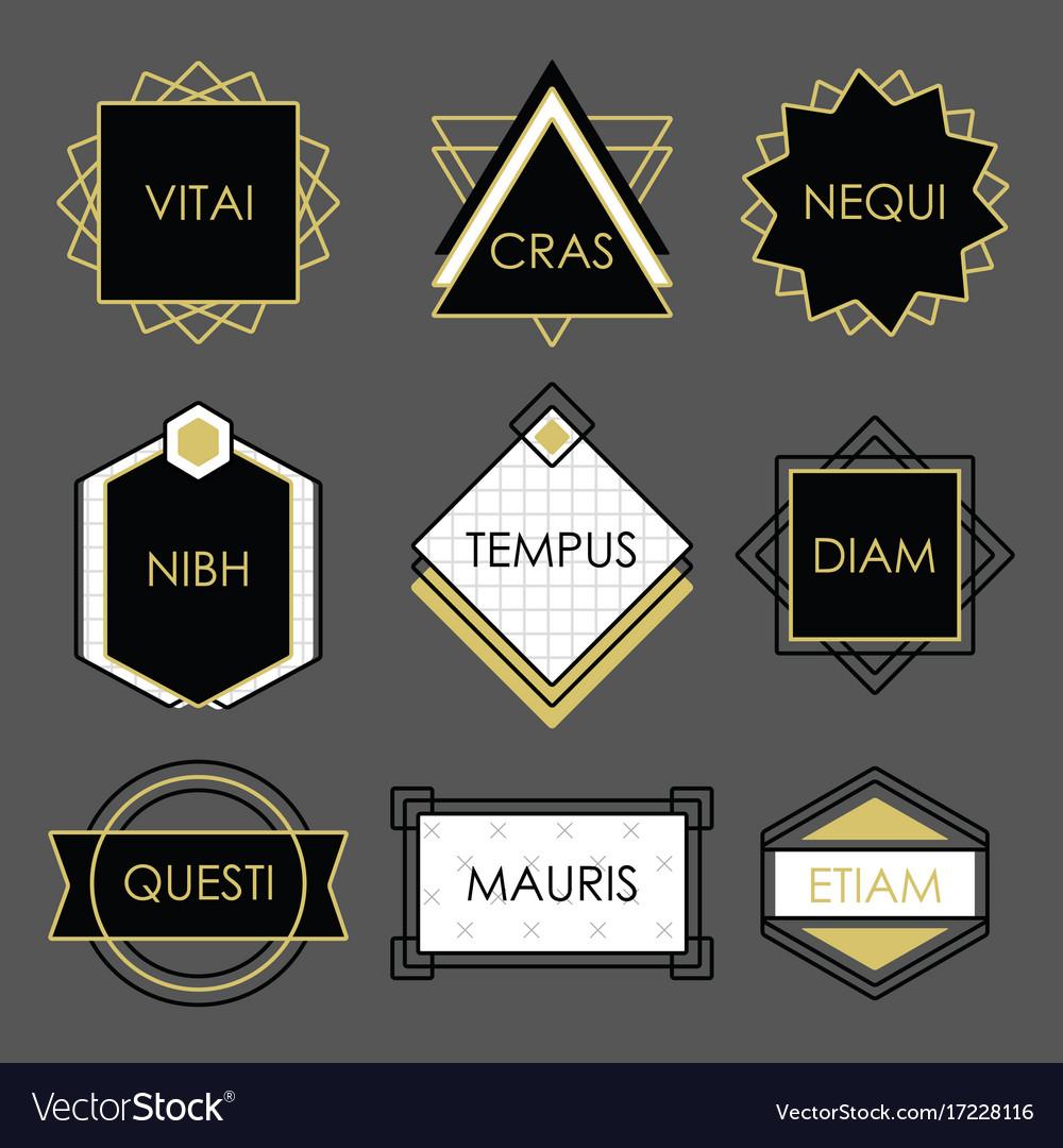 Cute black geometrical vintage emblems on gray