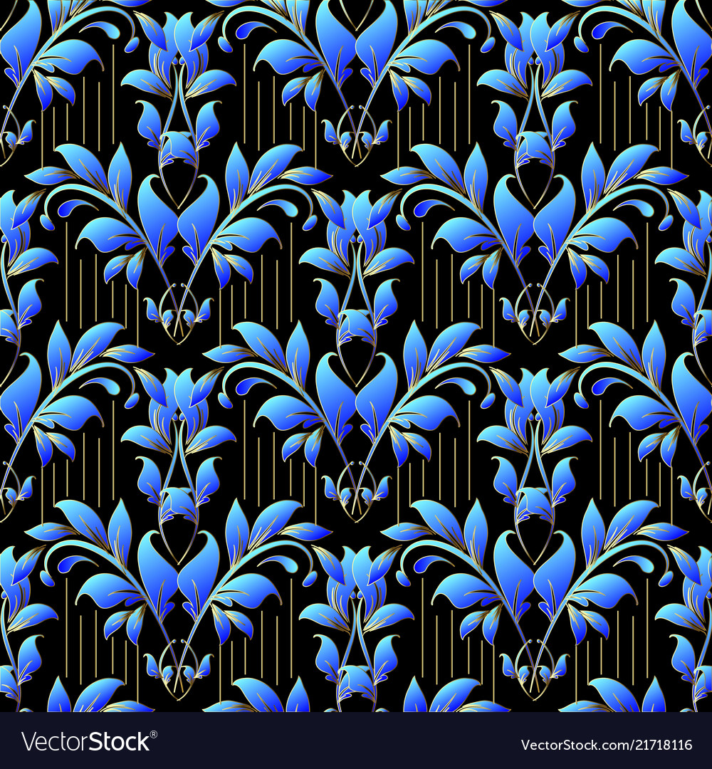 Damask floral 3d seamless pattern ornamental